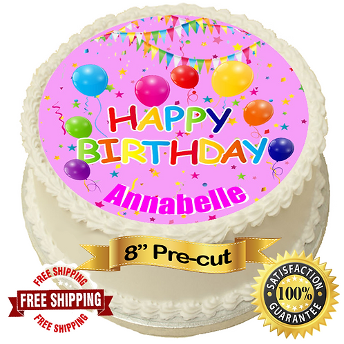 "Happy Birthday Pink Personalised 8"" Round Edible Cake Topper"