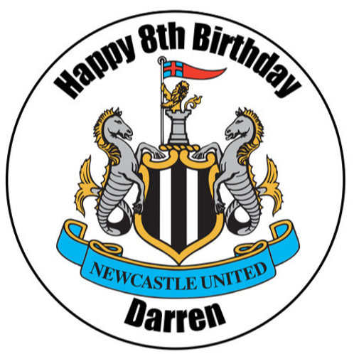 "Newcastle United FC Personalised 8"" Round Edible Cake Topper"