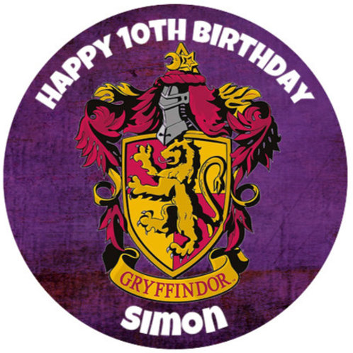 """Harry Potter Gryffindor Personalised 8"""" Round Edible Cake Topper"""