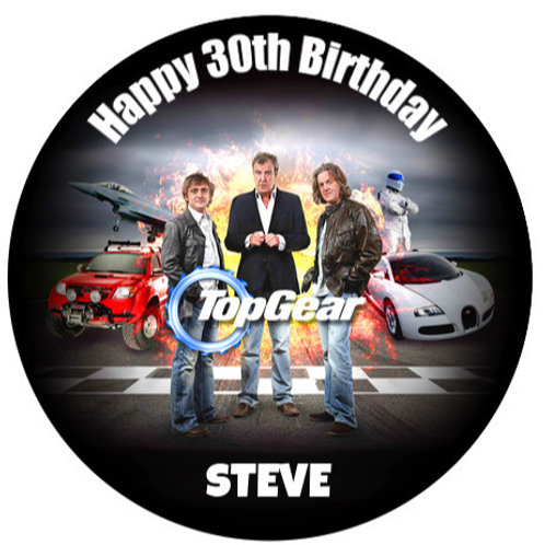 "Top Gear Personalised 8"" Round Edible Cake Topper"