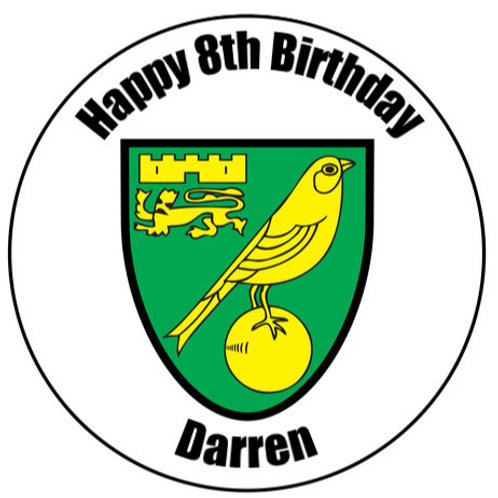"""Norwich FC Personalised 8"""" Round Edible Cake Topper"""