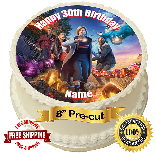 """Dr Who Personalised 8"""" Round Edible Cake Topper"""
