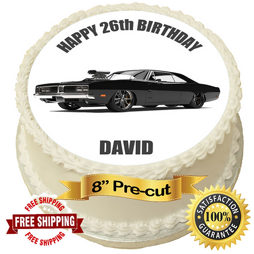"""Black American Muscle Car Personalised 8"""" Round Edible Cake Topper"""