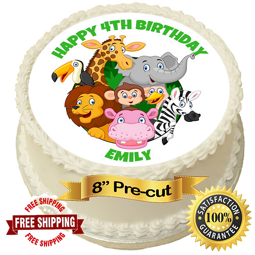 """Cute Jungle Animals Personalised 8"""" Round Edible Cake Topper"""