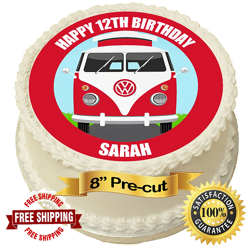 """Red Campervan Personalised 8"""" Round Edible Cake Topper"""