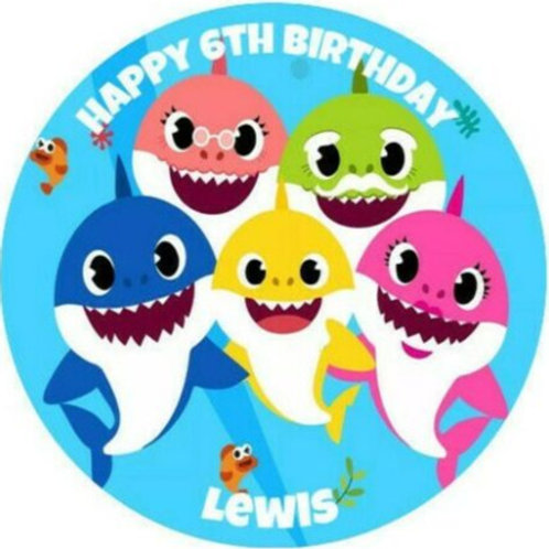 """Baby Shark Personalised 8"""" Round Edible Cake Topper #1"""