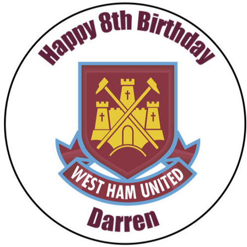 "West Ham FC Personalised 8"" Round Edible Cake Topper"