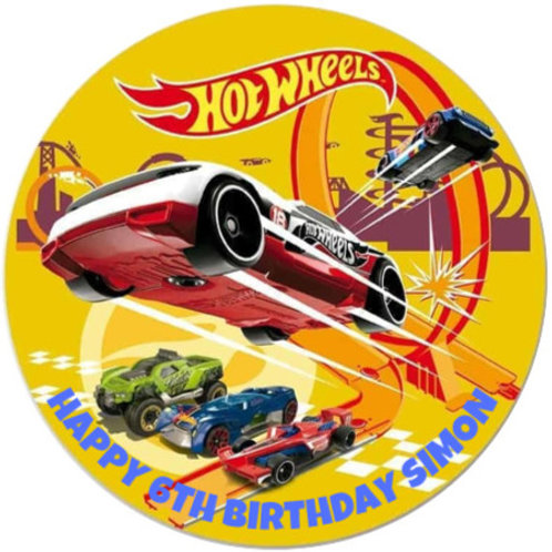 """Hot Wheels Personalised 8"""" Round Edible Cake Topper"""