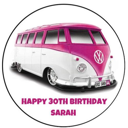"VW Pink Campervan Personalised 8"" Round Edible Cake Topper"