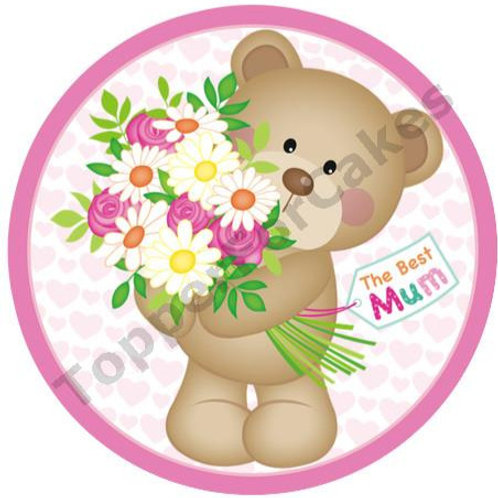 """The Best Mum Mothers Day 8"""" Round Edible Cake Topper"""