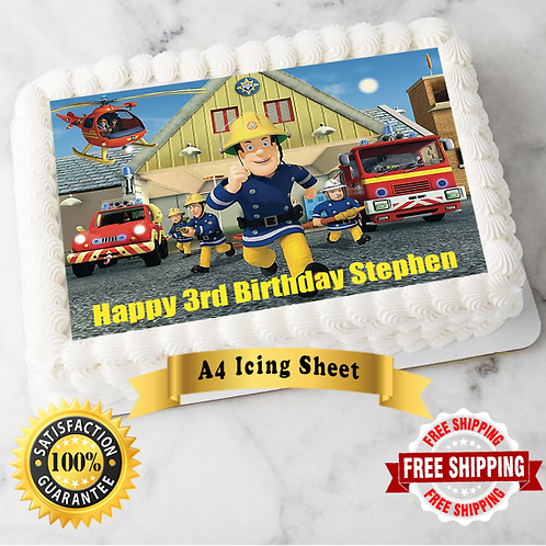 Fireman Sam Personalised Edible A4 Sized Cake Topper