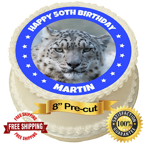 """Snow Leopard Personalised 8"""" Round Edible Cake Topper"""