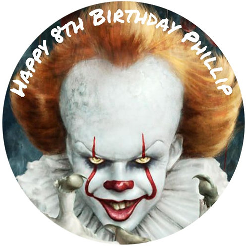 """Pennywise Horror Personalised 8"""" Round Edible Cake Topper"""
