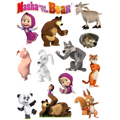 Masha & The Bear Edible Wafer Cake Toppers