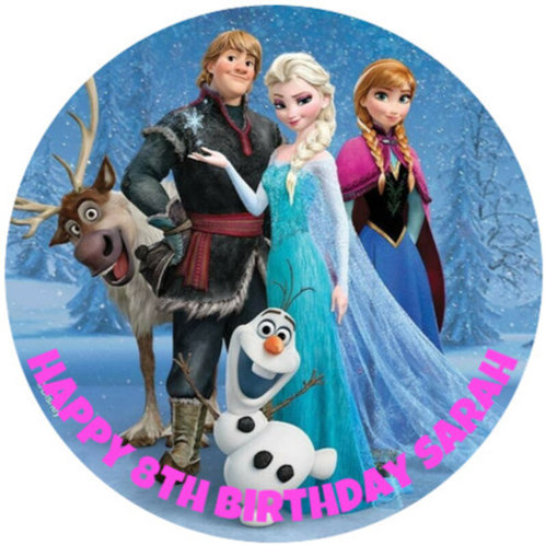 """Frozen Personalised 8"""" Round Edible Cake Topper #2"""