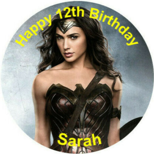 "Wonder Woman Personalised 8"" Round Edible Cake Topper #1"