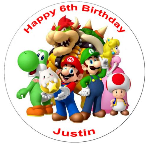 "Super Mario Personalised 8"" Round Edible Cake Topper #1"