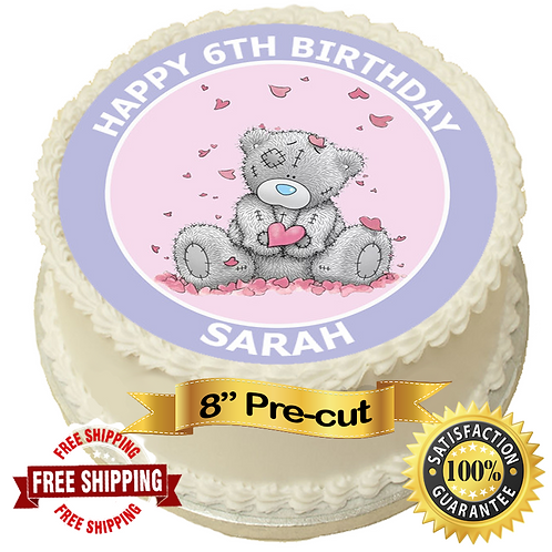 """Cute Me To You Bear Personalised 8"""" Round Edible Cake Topper"""