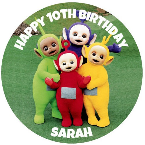 """Teletubbies Personalised 8"""" Round Edible Cake Topper"""