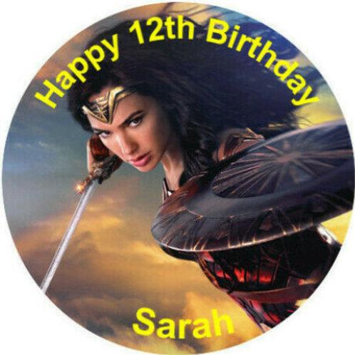 "Wonder Woman Personalised 8"" Round Edible Cake Topper #2"
