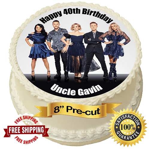 """Steps Pop Group Personalised 8"""" Round Edible Cake Topper"""