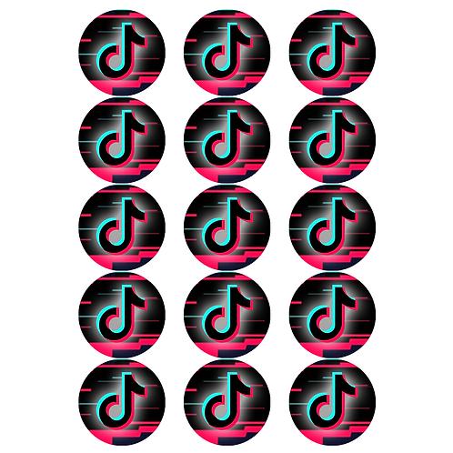 15 x TIK TOK Logo Edible Cupcake Toppers