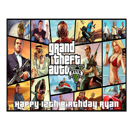 Grand Theft Auto 5 Personalised Edible A4 Sized Cake Topper #1