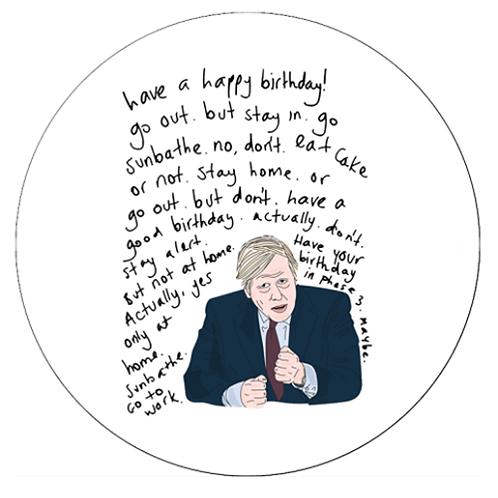 "Boris Johnson Isolation 8"" Round Edible Cake Topper"