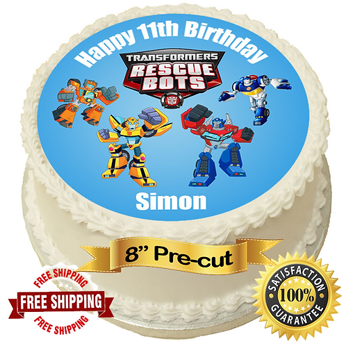 """Rescue Bots Transformers Personalised 8"""" Round Edible Cake Topper"""