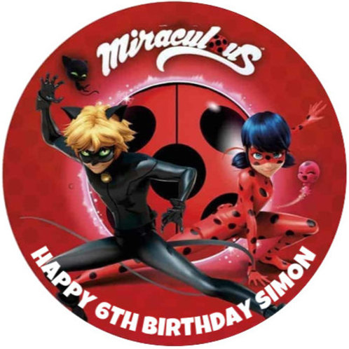 """Miraculous Personalised 8"""" Round Edible Cake Topper #2"""