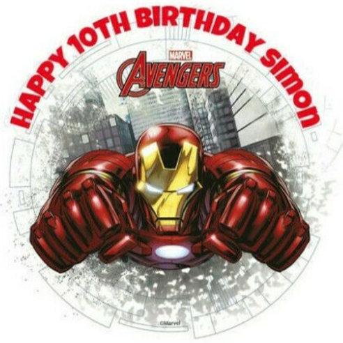 "Iron Man Personalised 8"" Round Edible Cake Topper"