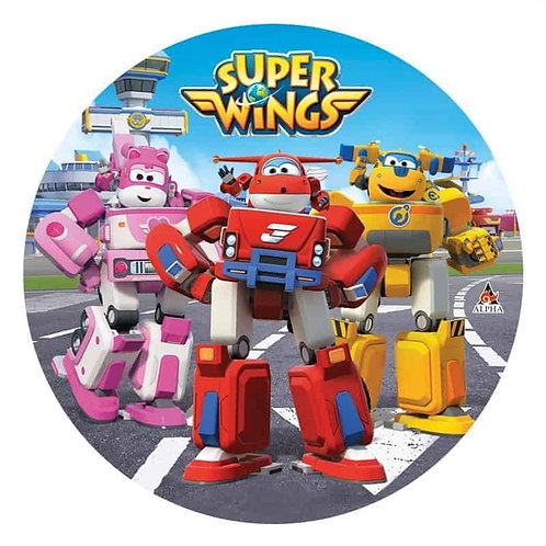 """Superwings 8"""" Round Edible Cake Topper"""