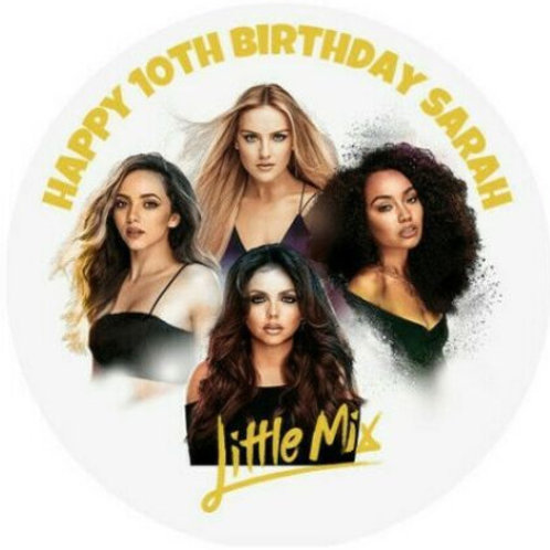 """Little Mix Personalised 8"""" Round Edible Cake Topper #2"""