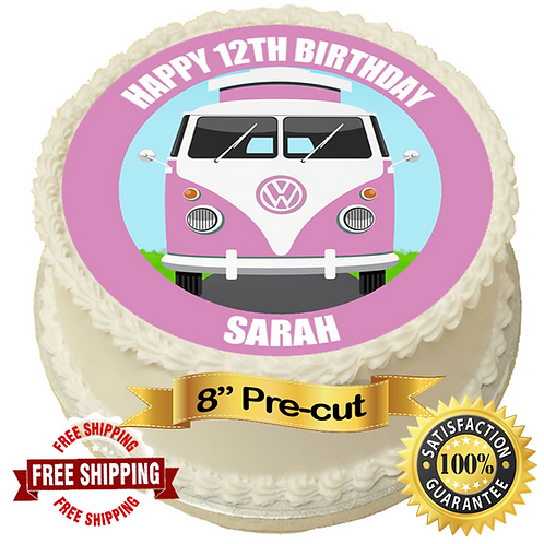 "Pink Campervan Personalised 8"" Round Edible Cake Topper"