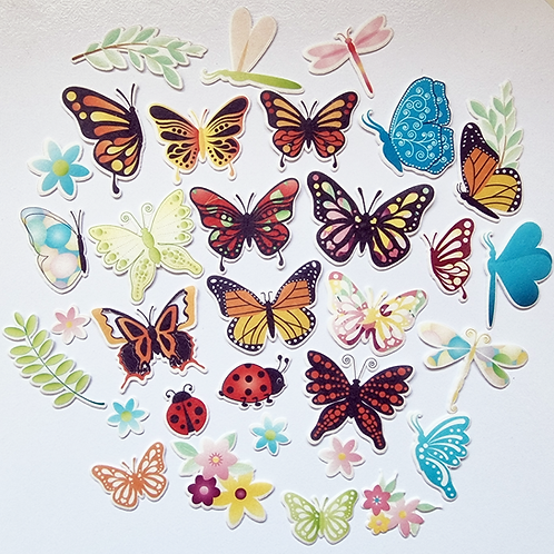 32 x Precut Butterflies / Insects / Flowers Edible Wafer Cupcake Toppers