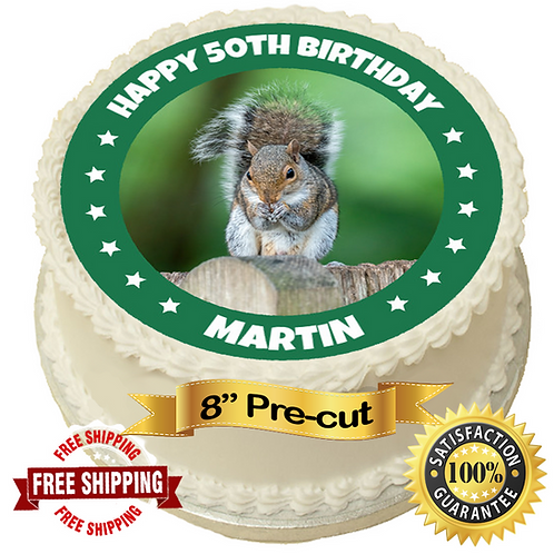 """Squirrel Personalised 8"""" Round Edible Cake Topper"""