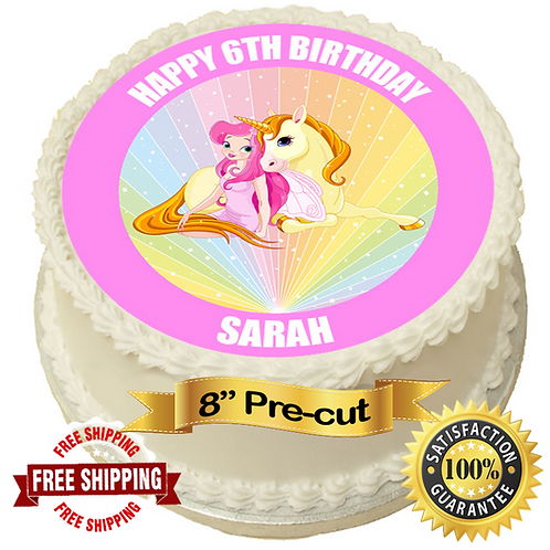 """Unicorn Friends Personalised 8"""" Round Edible Cake Topper"""