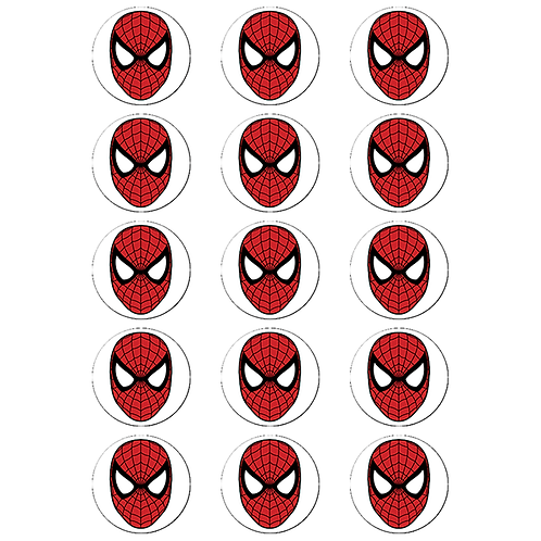 15 x Spiderman Logo Edible Cupcake Toppers