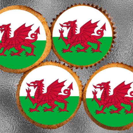 24 x Welsh Flag Precut Edible Wafer Cupcake Toppers