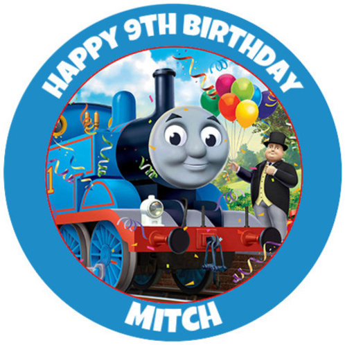 """Thomas The Tank Engine Personalised 8"""" Round Edible Cake Topper"""