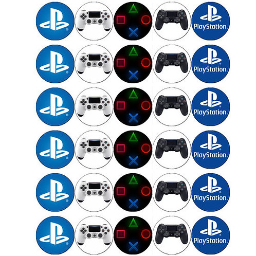 30 x Playstation Edible Wafer Cupcake Toppers