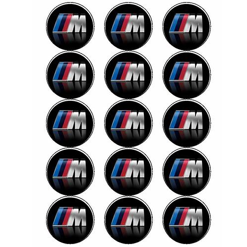 15 x BMW M Sport Logo Edible Cupcake Toppers