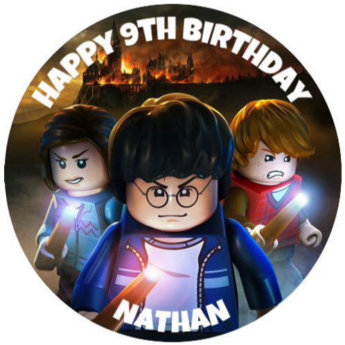 """Harry Potter Lego Personalised 8"""" Round Edible Cake Topper"""