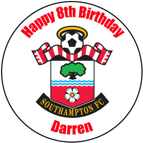 """Southampton FC Personalised 8"""" Round Edible Cake Topper"""