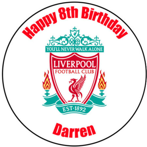 "Liverpool FC Personalised 8"" Round Edible Cake Topper"