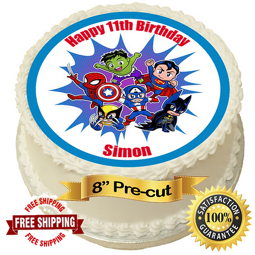 "Marvel Comic Hero Personalised 8"" Round Edible Cake Topper"