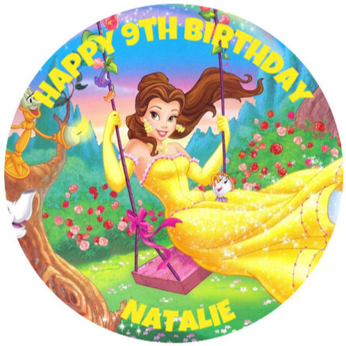 """Belle Personalised 8"""" Round Edible Cake Topper"""