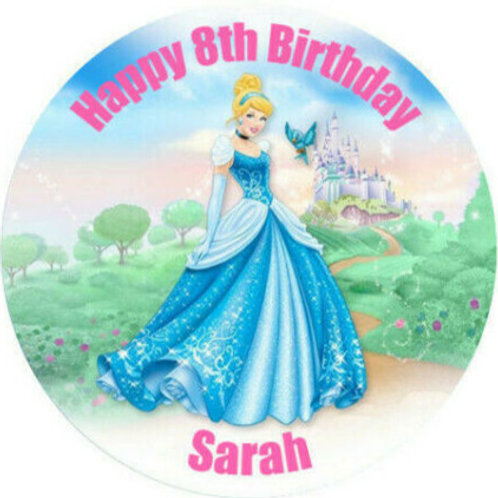 "Cinderella Personalised 8"" Round Edible Cake Topper #2"