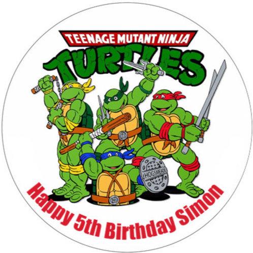 "Teenage Mutant Ninja Turtles Personalised 8"" Round Edible Cake Topper"