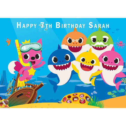 Baby Shark Personalised Edible A4 Sized Cake Topper #1